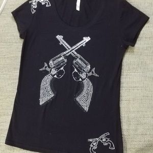 Rosio - Black Tshirt w/ Rhinestones Crossed Guns